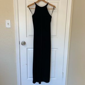 Black Velvet Long Halter Dress Vintage Juniors